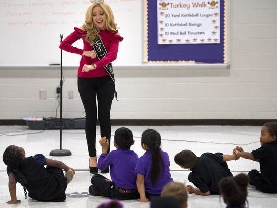 Miss Tennessee Caty Davis dances before before her presentation Thursday, Nov. 8, 2017, at Thelma Barker Elementary School.