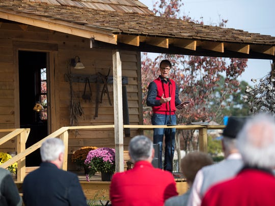 Union University Professor of Evangelism Ernest Easley gives a presentation Saturday, Nov. 11, 2017, at the grand opening of the newly renovated R. G. Lee home at Union University.