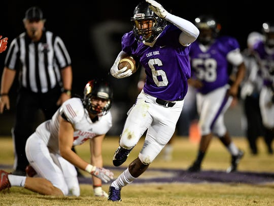 Cane Ridge's Jared McCray (6) advances against Ravenwood during the first half of the 6A quarterfinal game at Cane Ridge High School in Antioch, Tenn., Friday, Nov. 17, 2017.