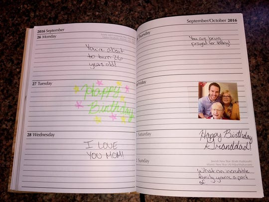 Martin Leather's personalized datebook for his mother is filled with good thoughts, memories and inspirations.