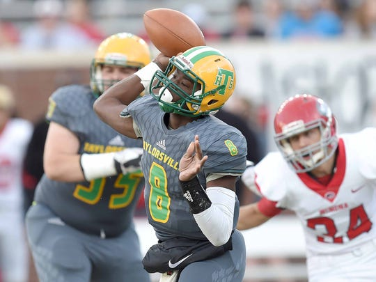 Taylorsville quarterback Tyvorius Keyes (8) throws over the middle on Friday, December 1, 2017, at the MHSAA Football State Championships at Vaught-Hemmingway Stadium on the University of Mississippi campus in Oxford, Miss.