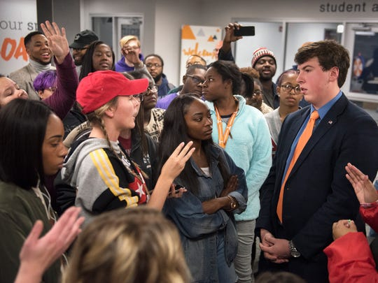 UT Martin students demand answers from Student Government Association senate member Alex Joyner on Friday, Dec. 1, 2017, during a sit-in in front of the Student Government Association offices at UT Martin.