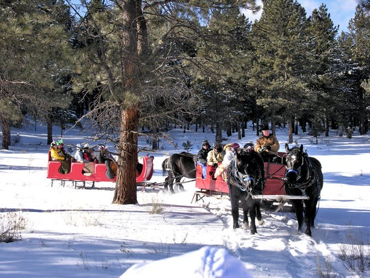 Sleigh rides are offered through Nancy Burch's Roadrunner Tours in Angel Fire, New Mexico.