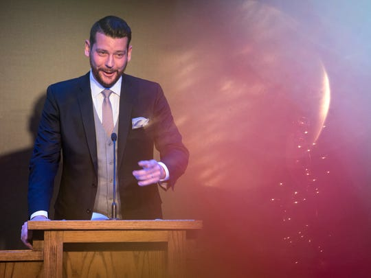 Joey Hale, seen here in this file photo, delivers a speech Thursday, Dec. 14, 2017, during a graduation ceremony for Jackson Chamber's 2017 Leadership Jackson class at the Carl Grant Events Center at Union University.