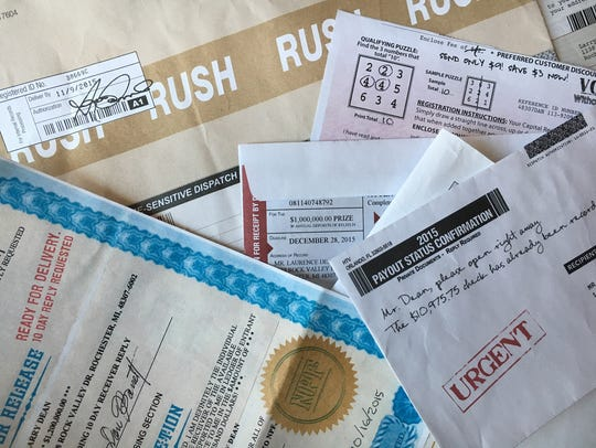 Sweepstakes mailings from late 2015 that help reveal
