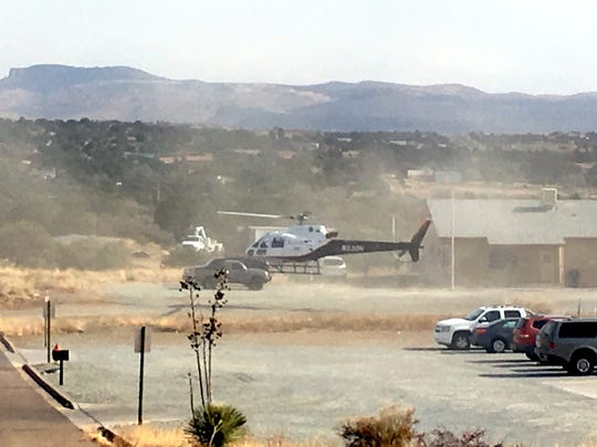 Air Med does a mock load and takeoff during an active shooter scenario Tuesday near the U.S. Forest Service in Silver City.