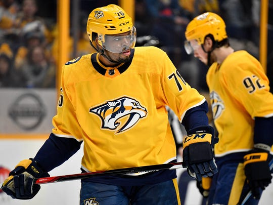 Nashville Predators defenseman P.K. Subban (76) gets