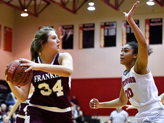 Franklin's Kate O'Neil (34) passes past Ravenwood's