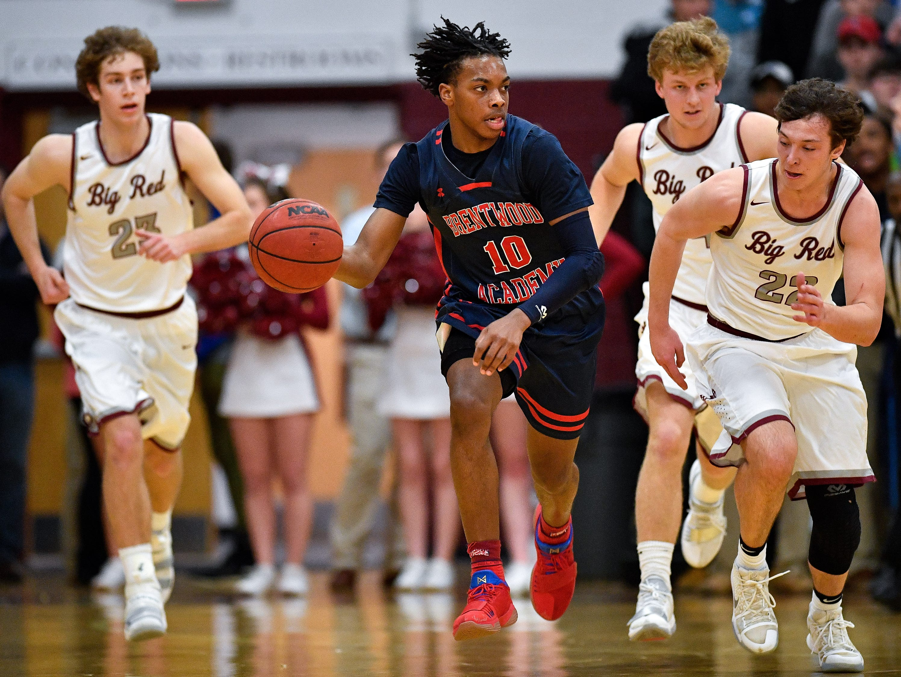 Brentwood Academy's Darius Garland (10) advances against MBA during the first half at Montgomery Bell Academy in Nashville, Tenn., Thursday, Jan. 25, 2018.