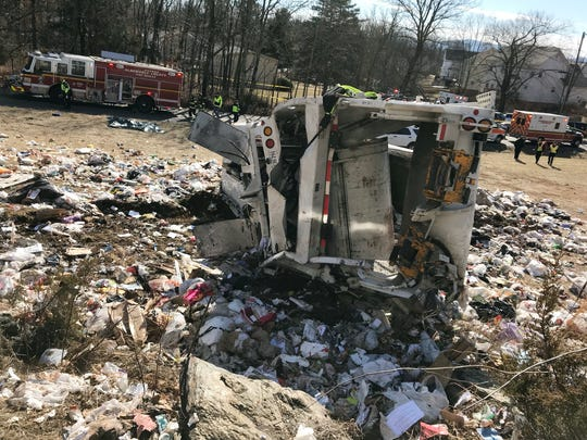 This photo provided by Rep. Greg Walden, R-Oregon, shows a crash site near Crozet, Va., on  Jan. 31, 2018.   A chartered train carrying dozens of GOP lawmakers to a Republican retreat in West Virginia struck a garbage truck south of Charlottesville,  lawmakers said.