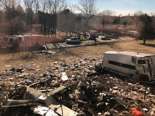 This photo provided by a member of Congress, shows a crash site near Crozet, Va., Jan. 31, 2018.   A chartered train carrying dozens of GOP lawmakers to a Republican retreat in West Virginia struck a garbage truck south of Charlottesville, Virginia on Wednesday, lawmakers said.