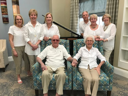 Bob and Helen Birchell, center, celebrated their 70th