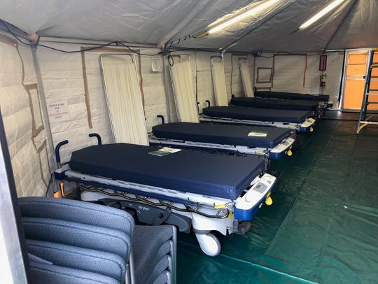 A second tent was set up with gurneys for patients