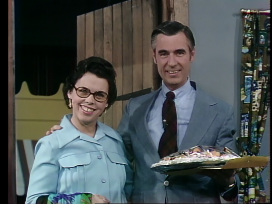Fred Rogers, in a rare appearance sans zip-up cardigan, with his wife, Joanne.