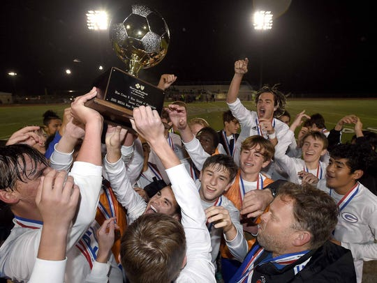 Gulfport celebrates at the MHSAA Soccer State Championships,