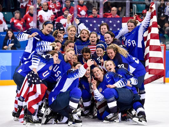 United States players snap a photo of themselves after