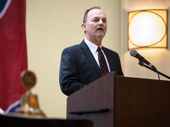 Randy Wallace gives a speech Tuesday, Feb. 27, 2018, after he is announced as the City of Jackson's 2017 Man of the Year at the DoubleTree by Hilton Hotel in Jackson.