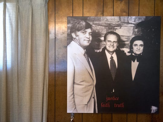 Sheriff Buford Pusser is seen pictured with American evangelist Billy Graham and country music legend Johnny Cash on Thursday, March 8, 2018, at the Buford Pusser Home & Museum in Adamsville.