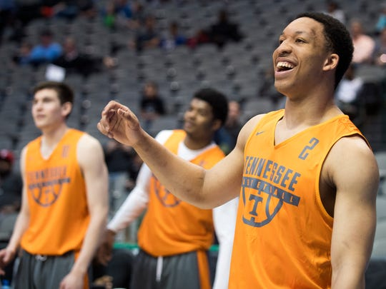 Tennessee forward Grant Williams (2) laughs during practice at American Airlines Arena on Wednesday, March 14, 2018, ahead of the NCAA Tournament first round game between Tennessee and Wright State.