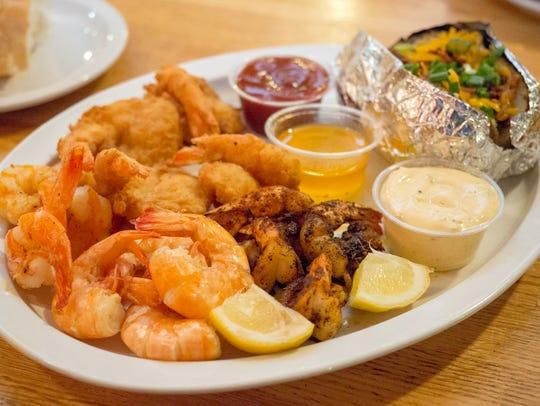 Shrimp Sampler Platter from the Cheniere Shack