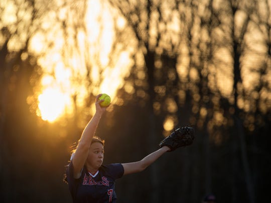 Tipton-Rosemark's Rachel Whitley pitches Thursday, March 15, 2018, during Lexington's 4-2 victory against Tipton-Rosemark Academy at Lexington.