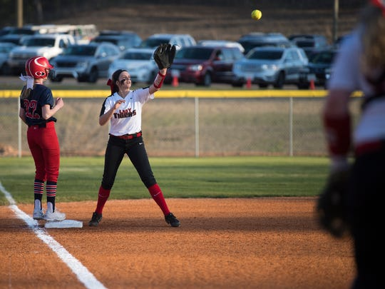 Lexington's Mary Mallette Taylor prepares to catch the ball Thursday, March 15, 2018, during Lexington's 4-2 victory against Tipton-Rosemark Academy at Lexington.