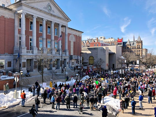 Hundreds gather during March For Our Lives, a rally