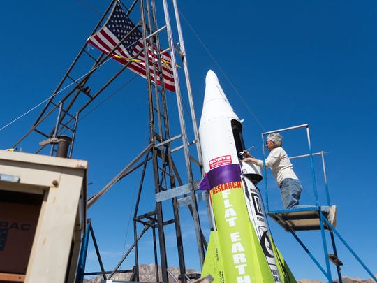 """""""Mad"""" Mike Hughes begins work on repairing a steam leak March 6, 2018, after he scrubbed his launch attempt of his steam-powered rocket near Amboy."""
