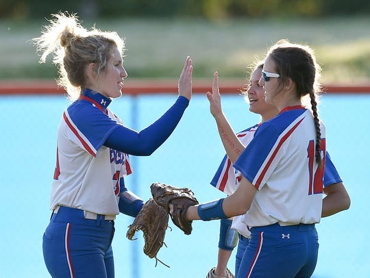 The Neshoba Central outfield (from left) Alex Bowen,