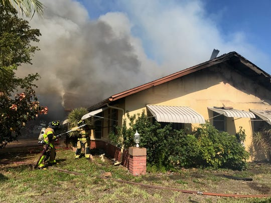 Cape Coral firefighters battled a blaze at  1143 SE 29th St., about 10:30 a.m. today.