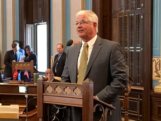 Sen. Mike Shirkey, R-Clarklake, the sponsor of a bill that would require many Medicaid recipients to work at least 29 hours a week. He spoke on the bill in the state Senate on Thursday, April 19, 2018.
