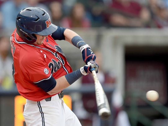 Ole Miss Rebel Will Golsan hits against Mississippi