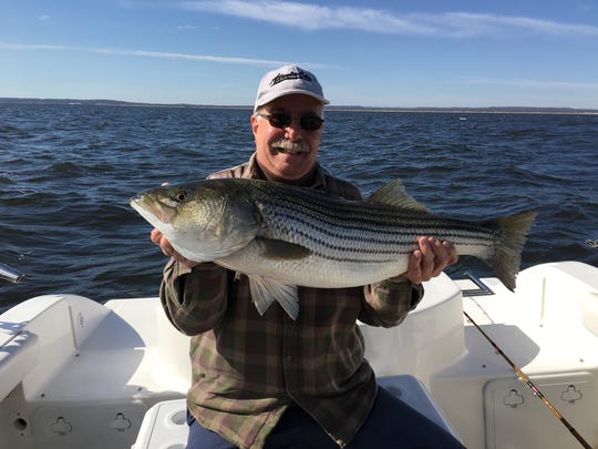 Joe Guiles of Morris County, with a striped bass he