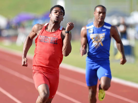 Forest Hill's Dante Brown wins the Class 5A 100 meters