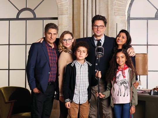 """""""Alex, Inc."""" stars Michael Imperioli as Eddie, Hillary Anne Matthews as Deirdre, Elisha Henig as Ben, Zach Braff as Alex, Audyssie James as Soraya and Tiya Sircar as Rooni."""