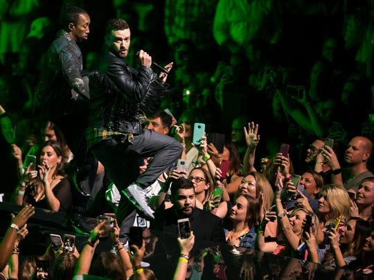 Justin Timberlake performs at Bridgestone Arena, Wednesday,