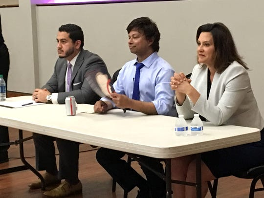 The three Democratic candidates for governor who will appear on the Aug. 7 primary ballot, Abdul El-Sayed, Shri Thanedar, Gretchen Whitmer. They attended a forum in Detroit Monday evening, July 2, 2018 hosted by the 13th and 14th Congressional District Democratic Party clubs, the Council of Baptist Pastors and Michigan Democratic Party's Black Caucus.