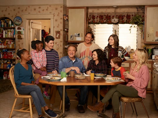 "ABC's ""The Conners"" features, from left, Maya Lynne Robinson, Jayden Rey, Michael Fishman, John Goodman, Laurie Metcalf, Sara Gilbert, Emma Kenney, Ames McNamara and Lecy Goranson."