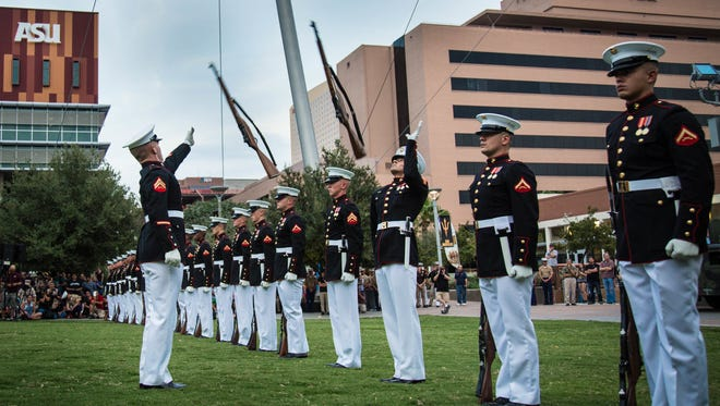 The Marine Corps Silent Drill Platoon out of Marine Barracks Washington, D.C. performs during the Marine Week opening ceremony in September 2015 in Phoenix. The week-long showcase event will be coming to Nashville this September.