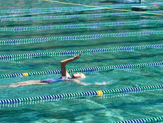 92-year-old Stasia Kowalski competes in the 100m backstroke