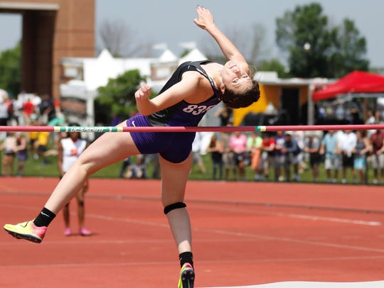 Fremont Ross' Olivia DeRodes competes in the high jump