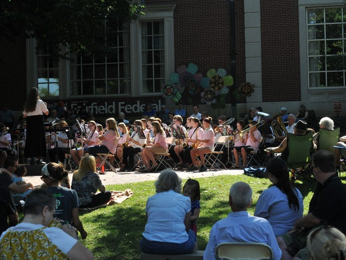 The Lancaster Summer Youth Band and the Lancaster Community Band performed as part of the Lancaster Festival Saturday, July 26, 2014, at the bandstand in downtown Lancaster.