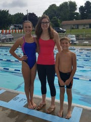Fresh from reaching the Olympic Trials finals, Hannah Stevens was at Walnut Hills Swim Club on Wednesday, where she met with kids on the club team, including Ellie and Trey Nickoli.