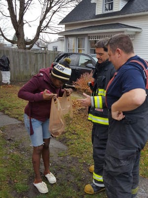 Elmira firefighters surprised the residents of a Standish Street apartment with turkey breast from Wegmans after a Thanksgiving morning stove fire ruined their turkey.