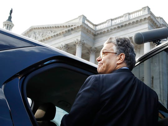 Sen. Al Franken, D-Minn., leaves the Capitol after