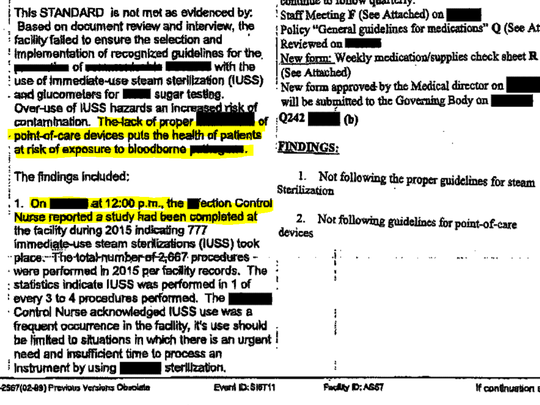 A Florida Agency for Health Care Administration inspection report of an ambulatory surgery center, with redactions.