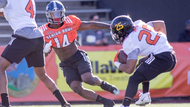 Jeremy Reaves (14), of South Alabama, runs a drill during practice for the Senior Bowl in Mobile, Alabama on Tuesday, January 23, 2018.
