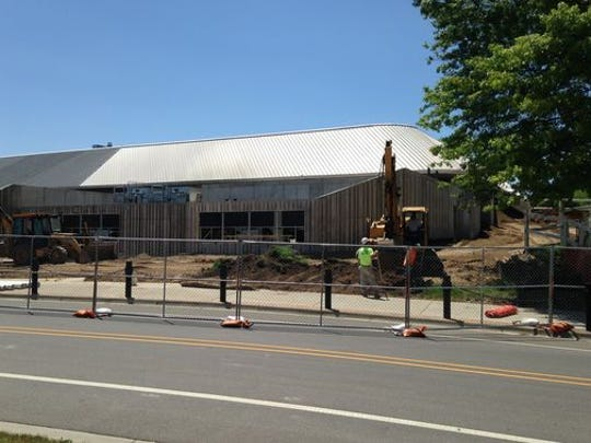 Construction in the summer of 2014 at Munn Ice Arena