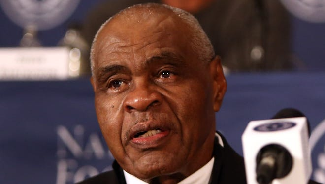 Dec. 4, 2012; New York, NY, USA; John Wooten speaks at the NFF annual awards press conference at the Waldorf-Astoria before being inducted into the 2012 college football hall of fame. Mandatory Credit: Debby Wong-USA TODAY Sports