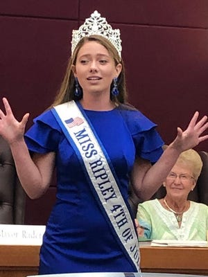 Miss Ripley Fourth of July, Courtney Winter, performs her pageant promo for Ripley City Council.